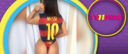 Miss BumBum provocó los celos de la esposa de Messi.