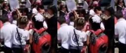 El policía les dedicó una hora a los niños que le pidideron su autógrafo