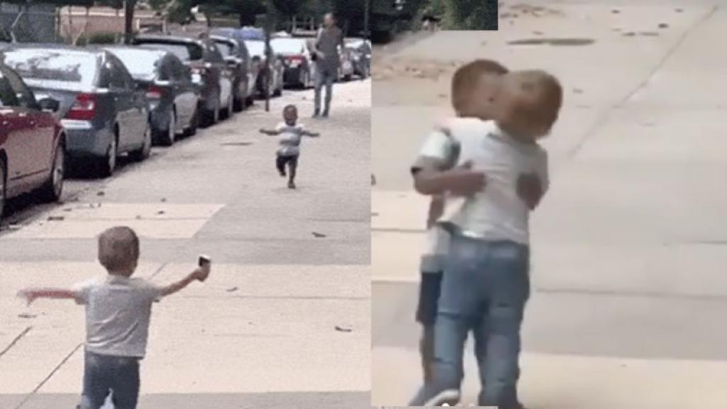 video niños diferentes abrazo viral