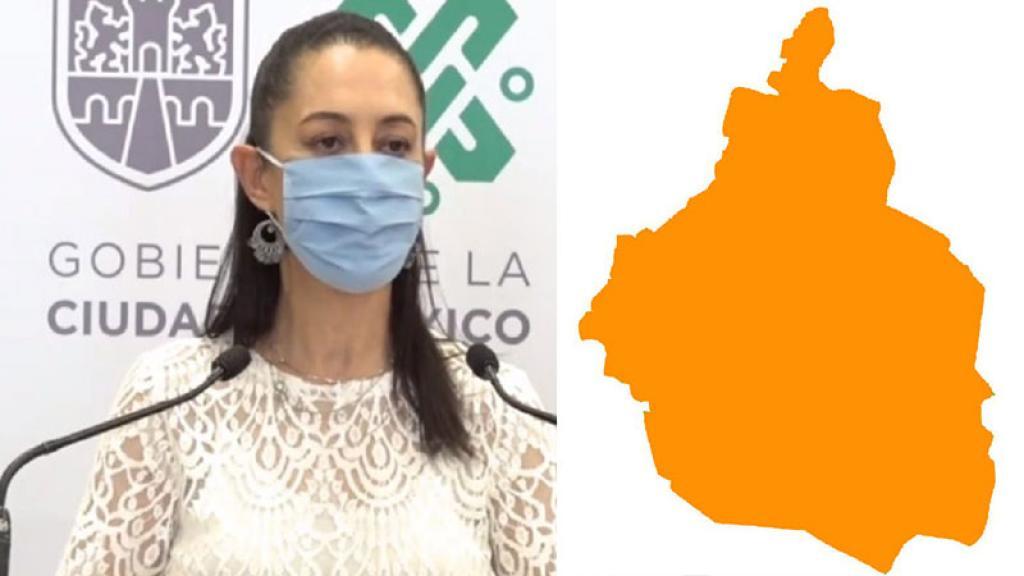 Claudia Sheinbaum Jefa de Gobierno CDMX Semáforo Epidemiológico naranja Albercas Cines Antros convertidos en restaurantes